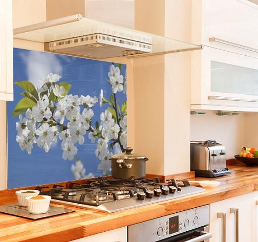 blossom-branch diy kitchen glass splashback