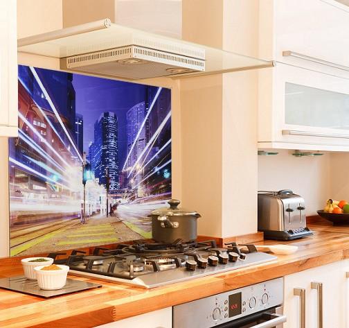 City-traffic diy kitchen glass splashback