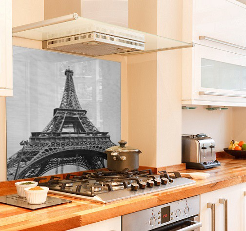 Eiffel-Tower diy kitchen glass splashback