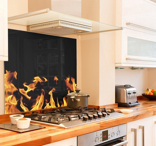 flame design diy kitchen glass splashback