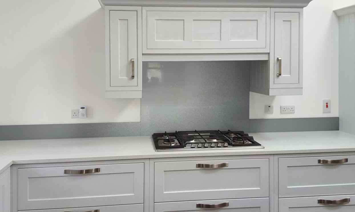 Metallic Pearl Dark Grey diy glass kitchen splashback
