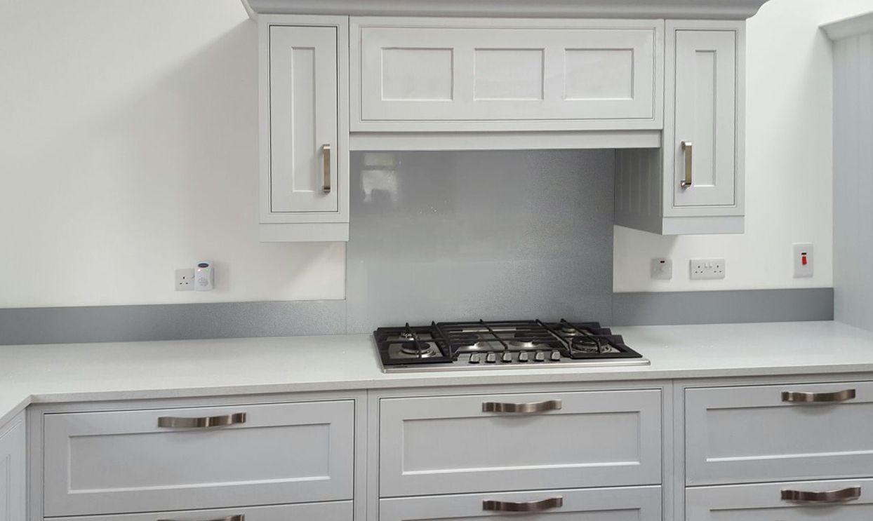 Metallic Pearl Light Grey diy glass kitchen splashback