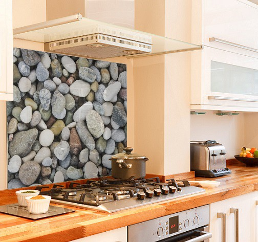 Pebble style diy kitchen glass splashback
