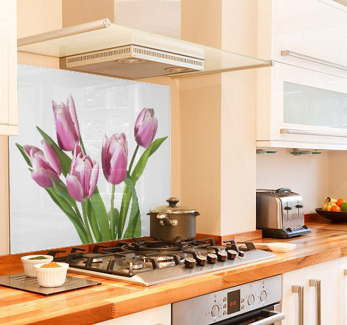 Pink tulip diy kitchen glass splashback