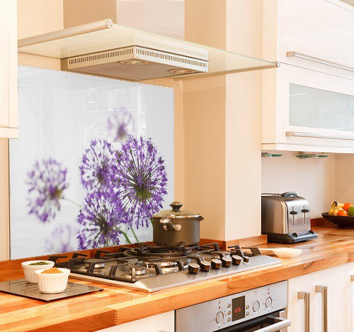 Allium in purple diy kitchen glass splashback
