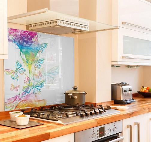 Butterfly Rainbow diy kitchen glass splashback