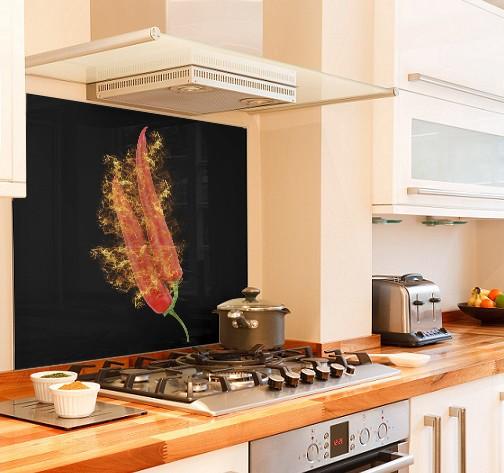 Red Hot Chilli diy kitchen glass splashback