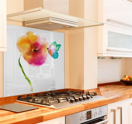 Watercolour Flower Kitchen Glass Splashback
