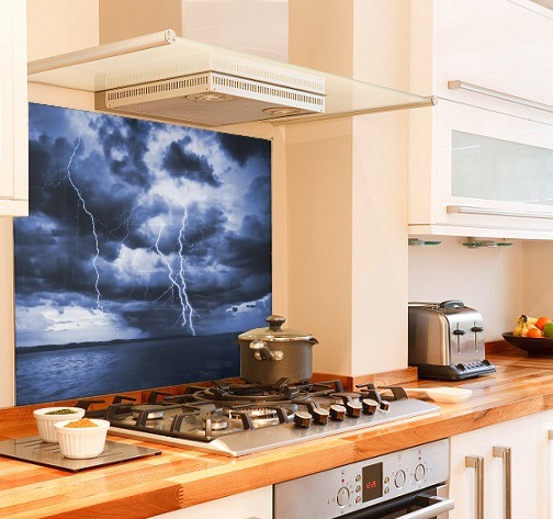 Sea storm diy kitchen glass splashback