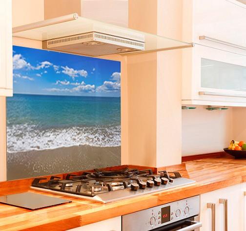 Sunny Beach Kitchen Glass Splashback