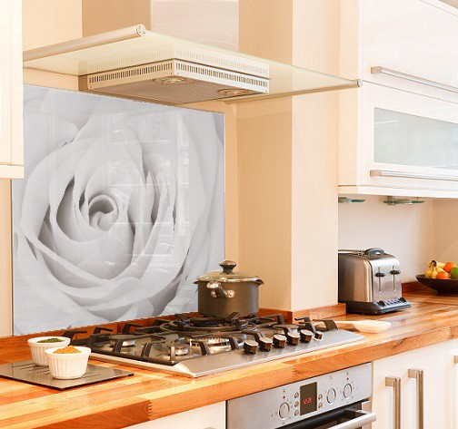 White Rose diy kitchen glass splashback