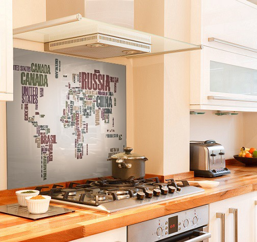 World-map diy kitchen glass splashback