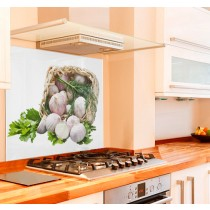 Garlic Basket Kitchen Glass Splashback
