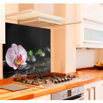 Orchid Zen Stones Kitchen Glass Splashback