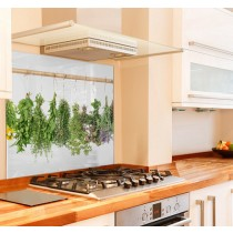 Hanging Herbs Kitchen Glass Splashback
