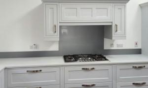 Metallic Grey Aluminium diy glass kitchen splashback