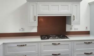 Metallic Pearl Copper diy glass kitchen splashback