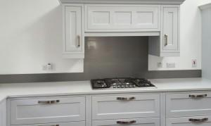 Metallic Pearl Mouse grey diy glass kitchen splashback