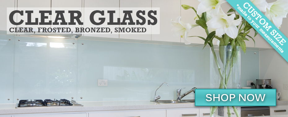 Clear Glass DIY Splashback installed using adhesive